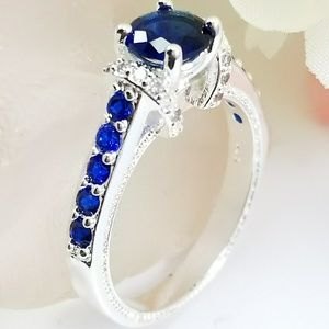 Sterling Silver Blue & White Sapphire Ring Sz 7
